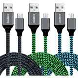 Micro USB Cable Android, Boxeroo Micro USB to USB 2.0 Cable (3-Pack,10Ft) Nylon Braided Sync and Fast Charging Cable Work for Samsung, Android Smartphones, Galaxy S7 S6 Edge, Moto G5, PS4