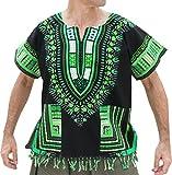 Raan Pah Muang RaanPahMuang Bold Cotton Dashiki Unisex African Shirt With Tassels and Pockets, X-Small, Black Green