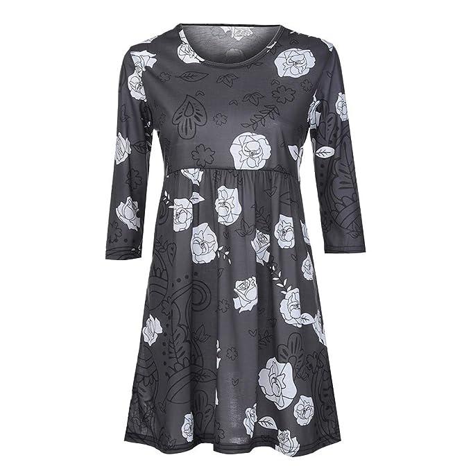 Mujeres Tops Rovinci Mujeres cómodas señoras de Moda Tres Cuartos Manga impresión Tops Casuales Camiseta Blusas