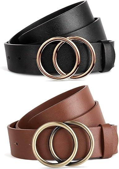 BROMEN – Juego de 2 cinturones para mujer para vaqueros, vestido con hebilla de doble junta tórica