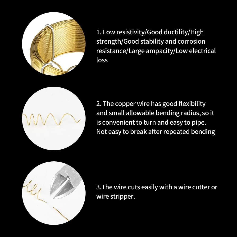Amagabeli 0.7MM X 100M X 6PCS Kupferdraht Bindedraht Wickeldraht zum Basteln und Modellieren Schmuckdraht Perfekt Zum Basteln