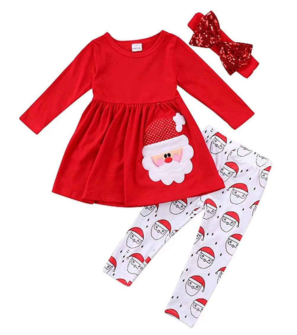 SUPEYA Baby Girls Christmas Santa Claus Print Long Sleeve Dress Shirt+Pants+Headband