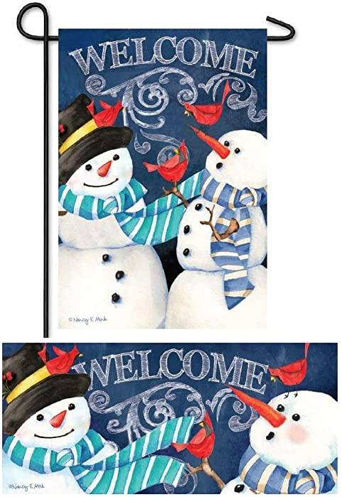 Evergreen Flag Christmas Winter Welcome Flag and Doormat Set of Two 12.5 x 18 inch Snowman Garden Flag and Interchangeable Sassafras Mat for December Décor