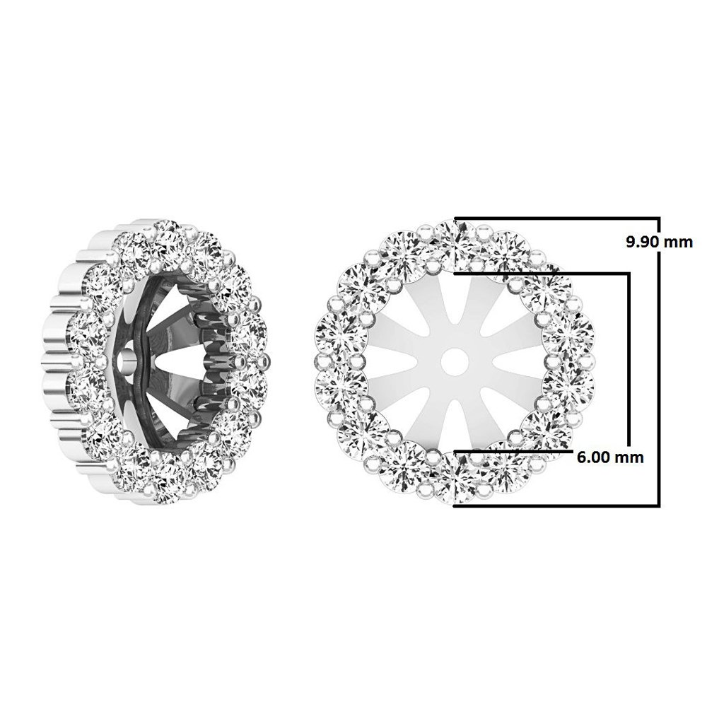 0.65 Carat (ctw) 10K White Gold Round Cut Diamond Removable Jackets For Stud Earrings