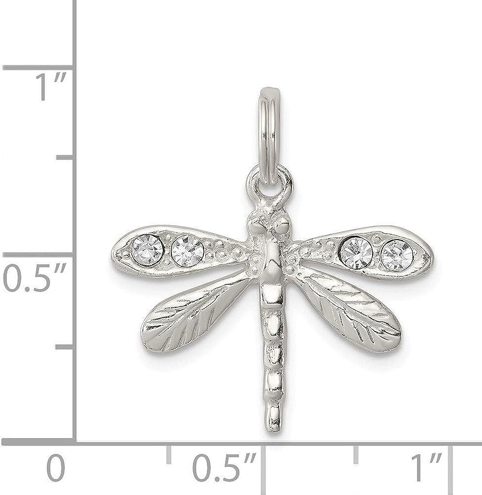 20mm x 23mm Mia Diamonds 925 Sterling Silver Cubic Zirconia Dragonfly Pendant