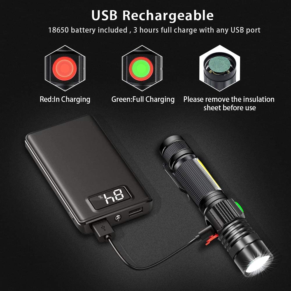 6 modos Cargador de tel/éfono USB masivo de 12.000 mAh 350 horas de funcionamiento tormenta y apag/ón Blazin Linterna LED recargable para cortes de energ/ía 1000 l/úmenes rojo