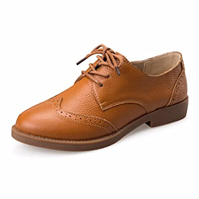 Moonwalker Zapatos Oxfords de Cuero Genuino con Cordones para Mujer( EUR 34,Marrón)