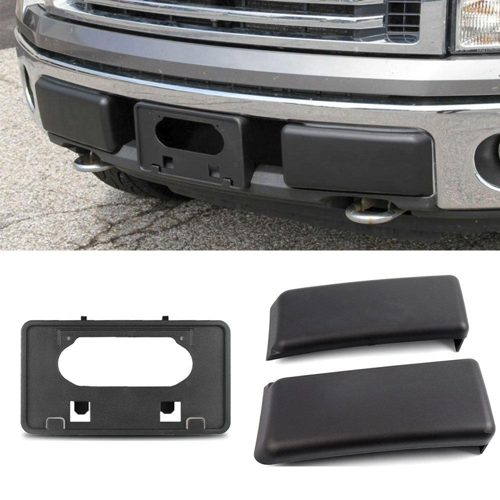 Winunite F150 Bumper Guards Pads Insert Replacement+Front Licenses Plate Frame Bracket Mounting Frame Holder for 2009-2014 F150(Replaces OE Part: FO1068134 and FO1053100) by Winunite (Image #1)