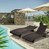Diensday Outdoor Wicker Furniture 2-Pack All-weather Adjustable Patio Chaise Lounge With Free Water-Resistant Coushions Pool Recliner Couch | Backyard, Pool, Porch (Set of 2)