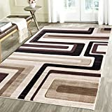 Contemporary Lined Geometric Emerald Collection Carved Area Rug by Rug Deal Plus (7'11''x10'4'', Brown/Beige)