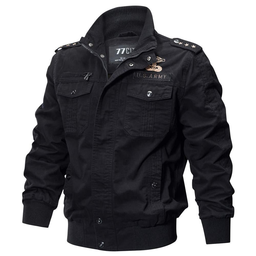 Ennglun Jacket mens Coats Men's Coat for Men's Autumn Winter Military Pocket Tactical Breathable Coat,Top Coat (XXXXL,Black)