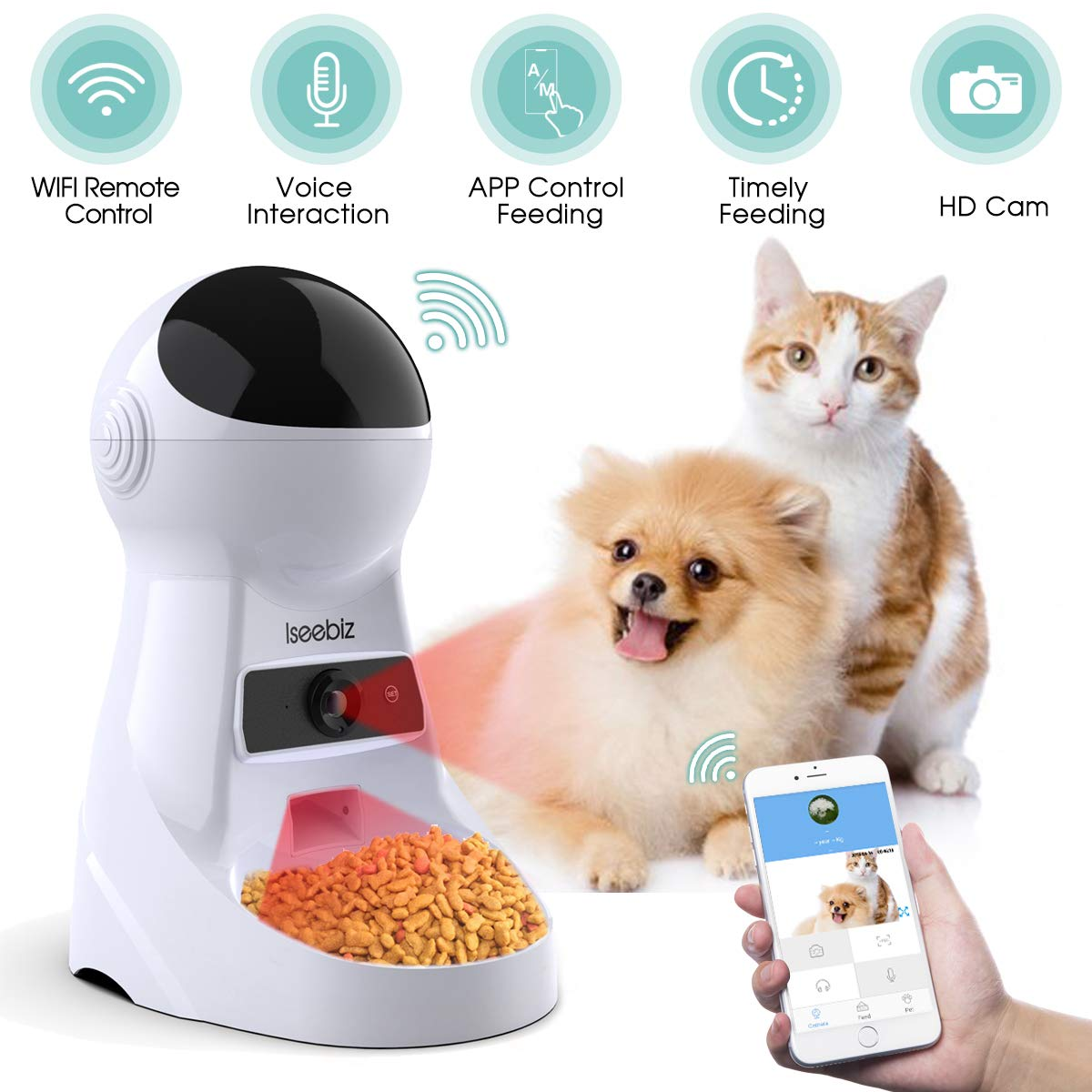 Iseebiz Automatic Pet Feeder with Camera, 3L App Control Smart Feeder Cat Dog Food Dispenser, 2-Way Audio, Voice Remind, Video Record, 6 Meals a Day for Medium Small Cats Dogs, Compatible with Alexa by Iseebiz