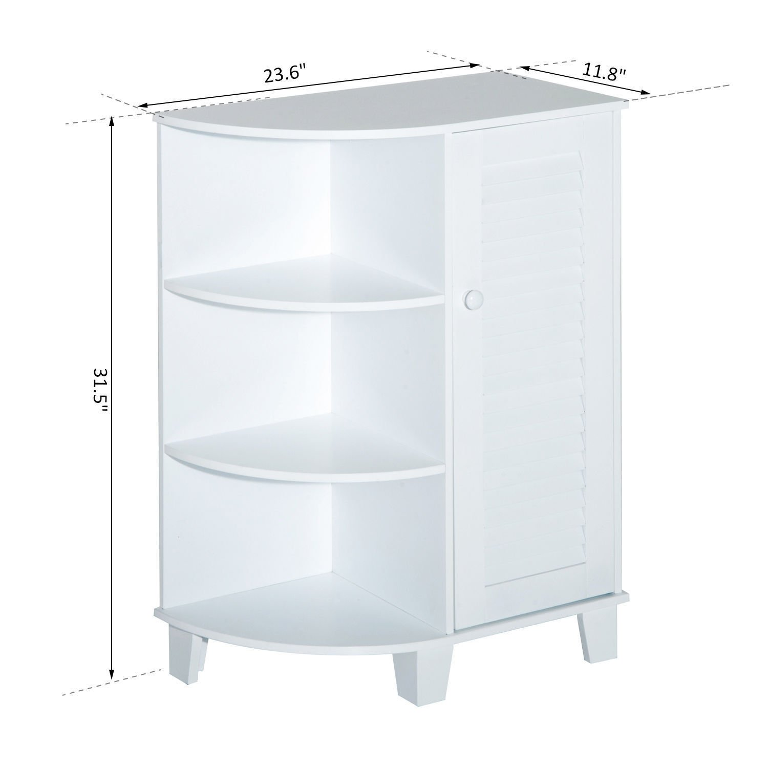 """HOMCOM 32"""" Modern Country Free Standing Bathroom Cabinet Cupboard with Rounded Shelves - White by HOMCOM (Image #7)"""