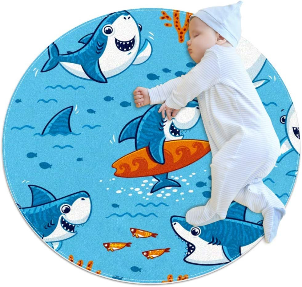rogueDIV Shark Surfing Large Baby Rug for Nursery Kids Round Warm Soft Activity Mat Floor Area Rugs Non-Slip for Children Toddlers Bedroom,27.6x27.6IN