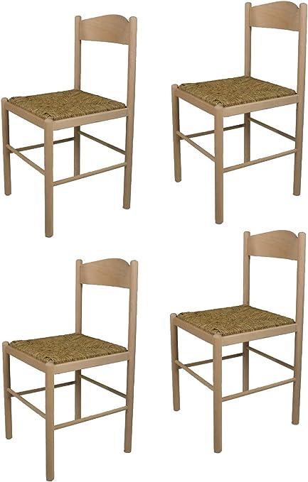 tmcs Tommychairs Set 4 sedie Pisa 38 per Cucina, Bar e Sala da Pranzo, Robusta Struttura in Legno di faggio Levigato, Non trattato, 100% Naturale e