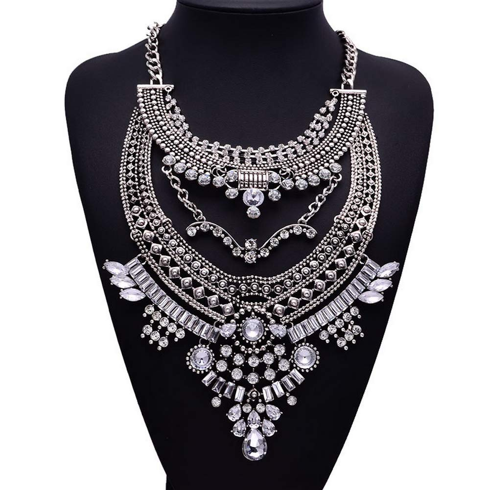 YAZILIND Fashion Rhinestone Pendant Collar Sweater Chain Necklace Accessories Women Jewelry