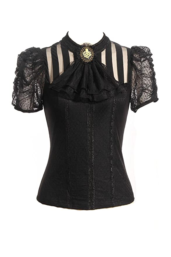 Steampunk Tops | Blouses, Shirts Steampunk Retro Punk Brocade Gothic Emo Womens Clothing Shopping Tee Shirt Tops $69.08 AT vintagedancer.com