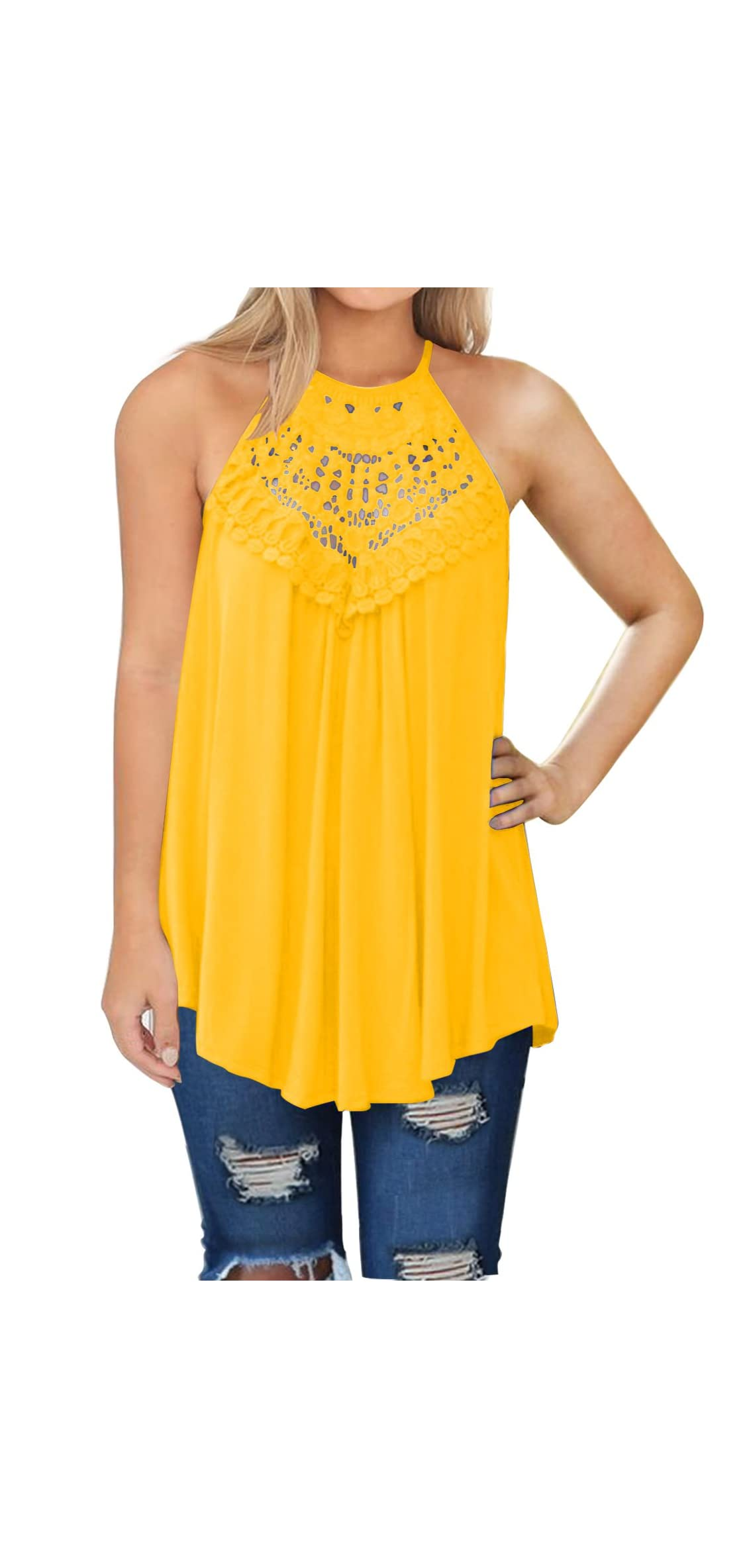 Womens Summer Casual Sleeveless Tops Lace Flowy Loose