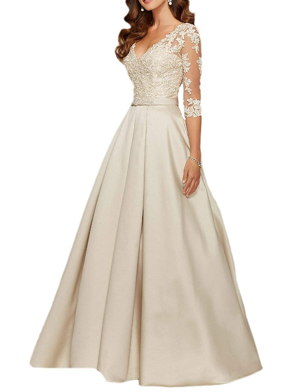 Ivory ynqnfs Women's VNeck 3 4 Sleeves Prom Dress Lace Long Mother of The Bride Dresses
