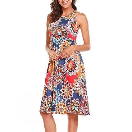 Vestidos Mujer Verano 2018,Mujer sin mangas Vintage bohemio Maxi fiesta de la noche vestido