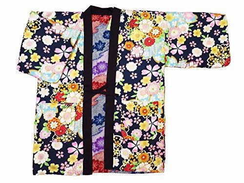【벚꽃 열거・곤색】 일본 무늬면 들어감 반(半)고지 않겠 리버시블 여성용 프리 사이즈