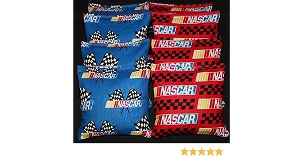 All Weather NASCAR RACING Cornhole Bean Bags Race Car Checkered Flag Baggo Toss