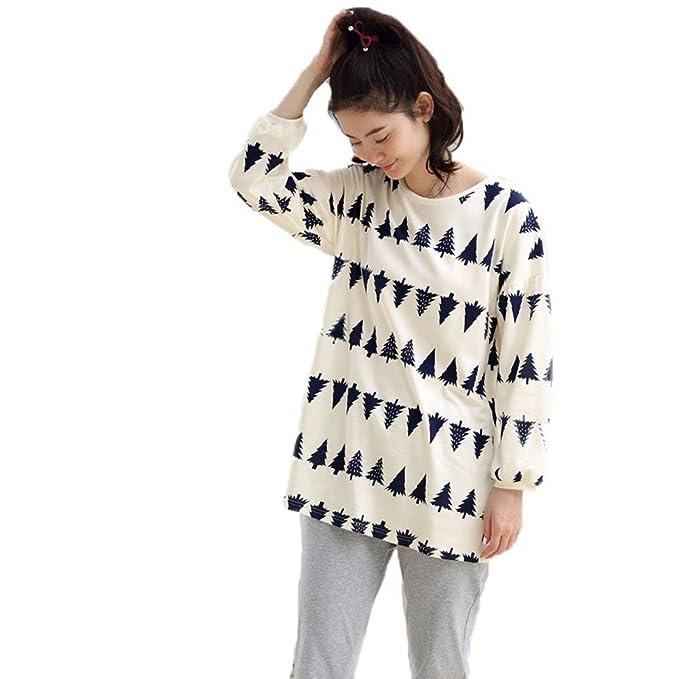 Mujer Ropa para El Hogar Primavera Otoño Batas Elegante Manga Basic Larga Cuello Redondo Estampadas Conjunto De Pijama Fashion Cómodo Ropa De Noche ...
