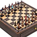 Hand Painted Romans & Egyptian Solid Pewter Chessmen & Seventh Avenue Maple & Walnut Chess Board/Cabinet with Two Drawers