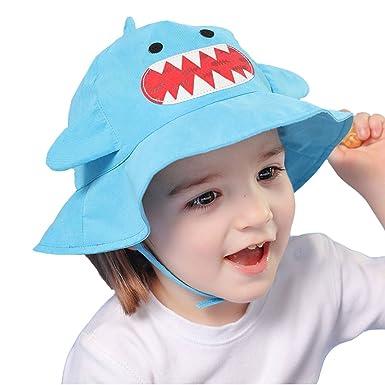 Samidy Sun Hat Boys Toddler Unisex Cotton Bucket Style Summer Beach Hat  (Blue 7b8b53e94333