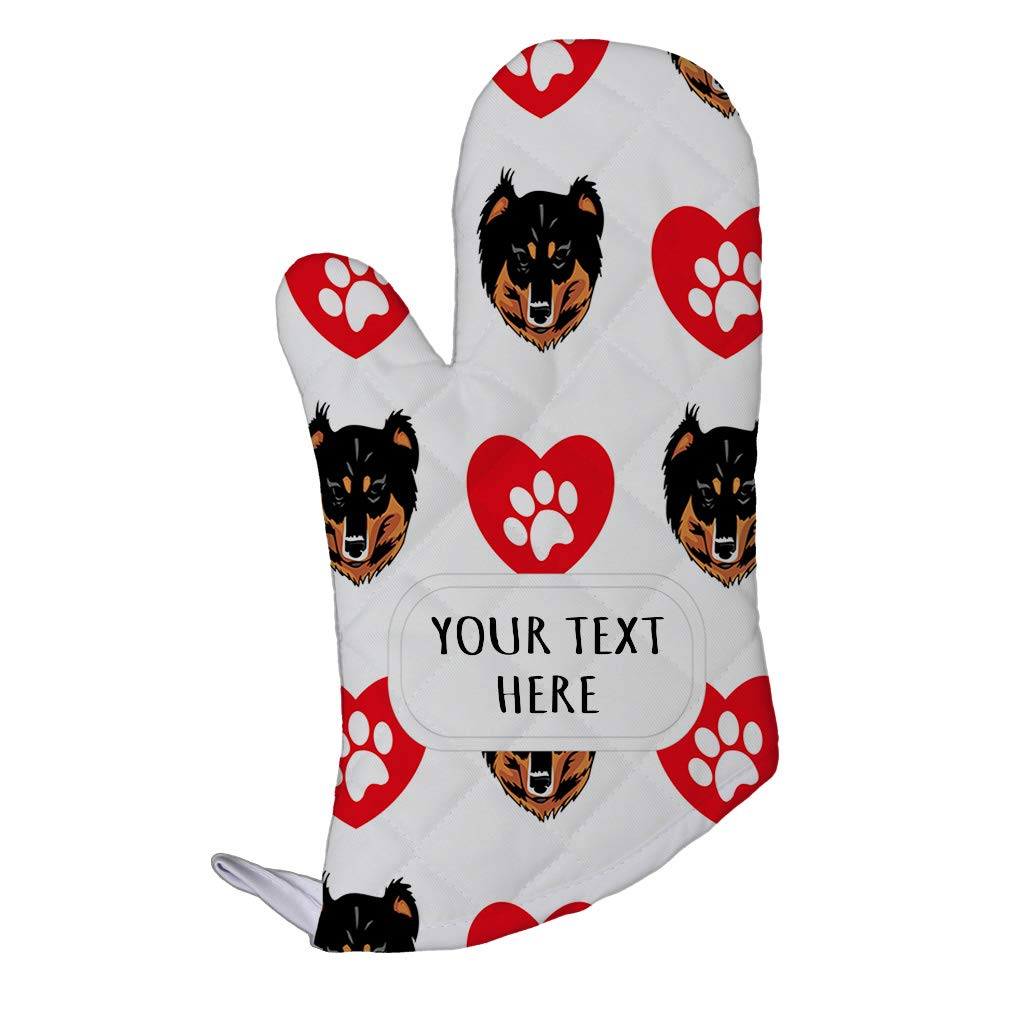 Style In Print Polyester Oven Mitt Custom English Shepherd Dog Heart Paws Pattern Adults Kitchen Mittens