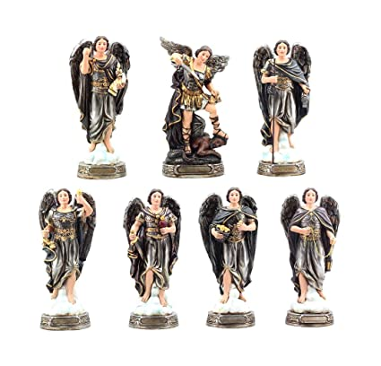 Seven Archangels Of The Holy Book Michael Gabriel Raphael Sealtiel Barachiel Uriel Jegudiel Figurine Miniature Set Sculptures