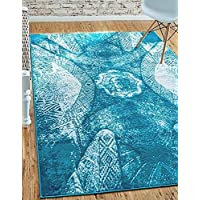 Unique Loom Sofia Collection Turquoise 8 x 10 Area Rug (8 x 10)