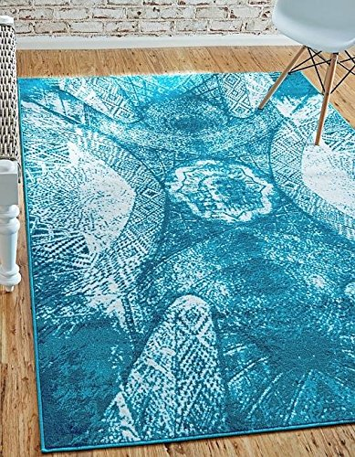 Unique Loom Sofia Collection Turquoise 5 x 8 Area Rug (5' x 8')