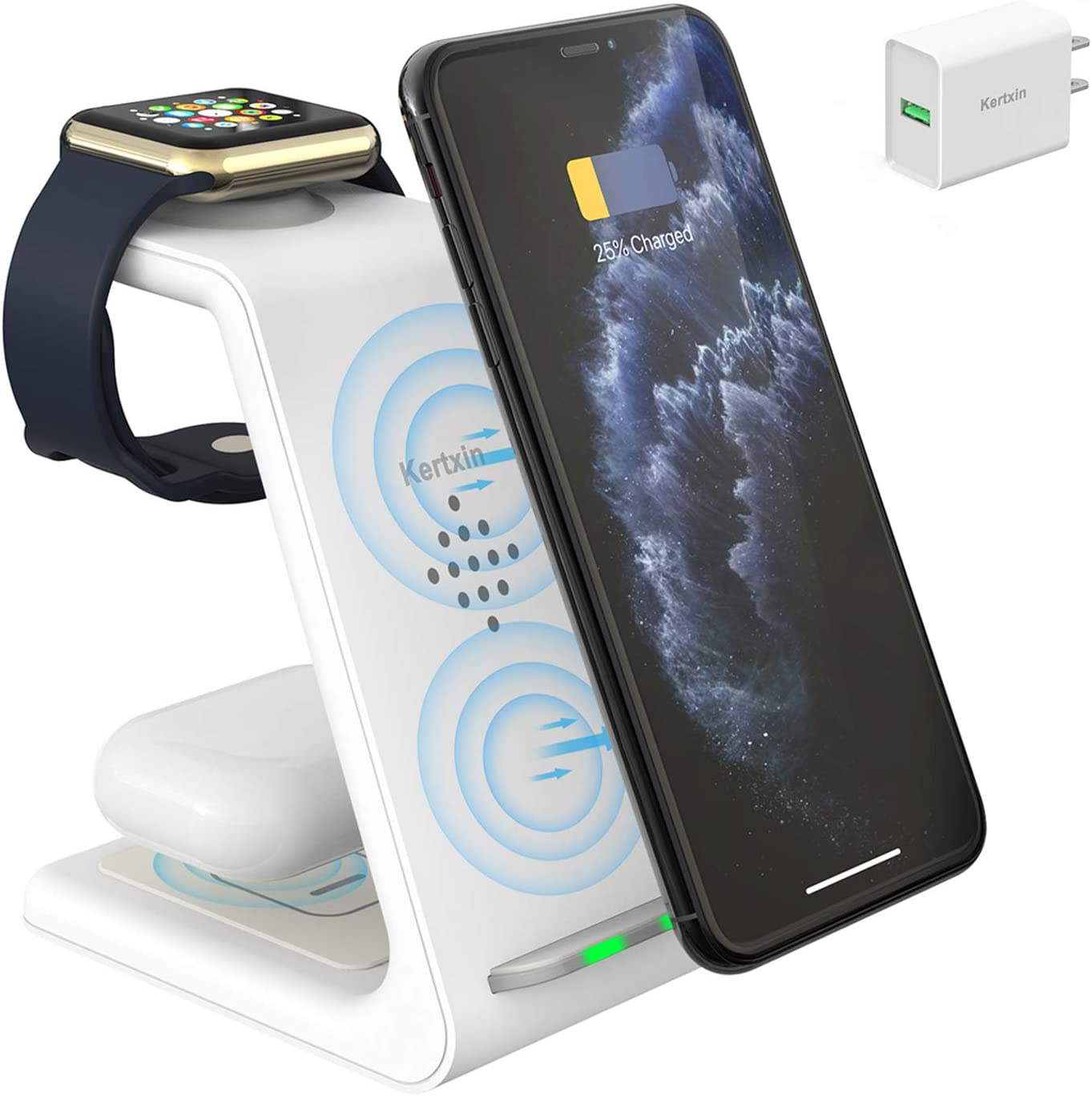 Kertxin 3 in 1 Qi-Certified Wireless Charger,Wireless Charging Station Dock for Apple Watch,AirPods,Wireless Charging Stand for iPhone 11 Pro Max/X/XS/XR/8/8 Plus,Samsung Galaxy S20 S10 S9 S8 Note 10