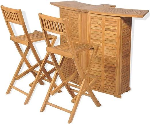 vidaXL Teca Set Muebles de Bar Jardín 3 Piezas Mesilla Mesita Mueble Auxiliar: Amazon.es: Hogar