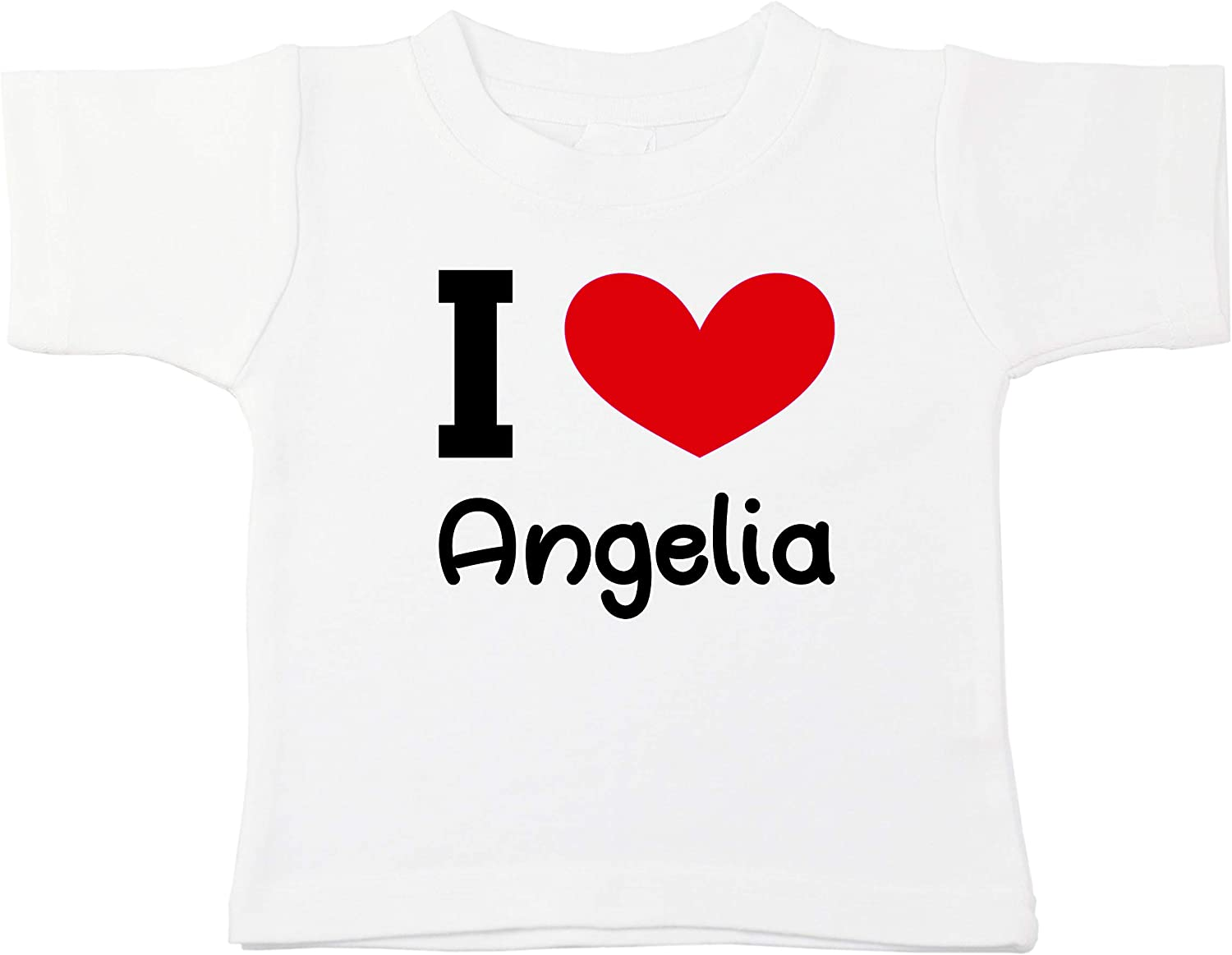 Kinacle I Love Angelia Personalized Baby//Toddler T-Shirt