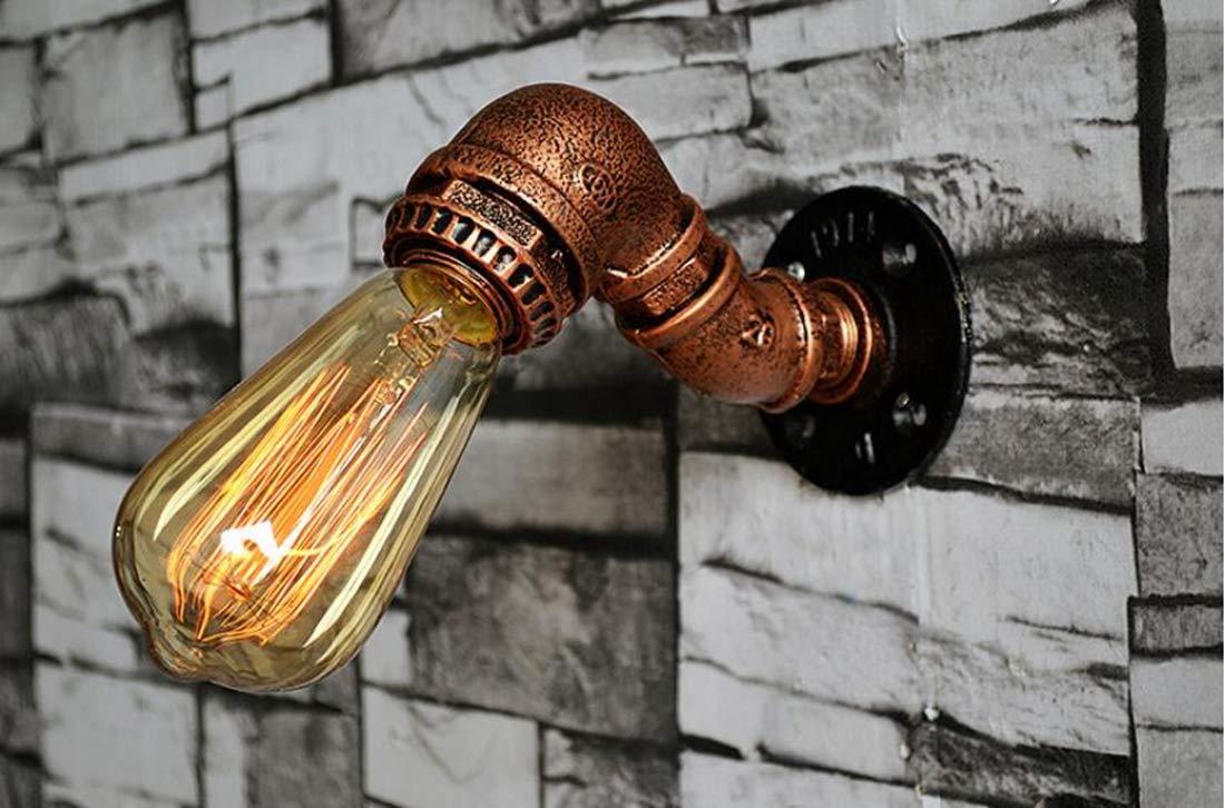11 * 15 * 9CM pasillo de la sala Lámpara de pared de oro del tubo de hierro labrado MSAJ Lámpara de pared decorativa retra industrial