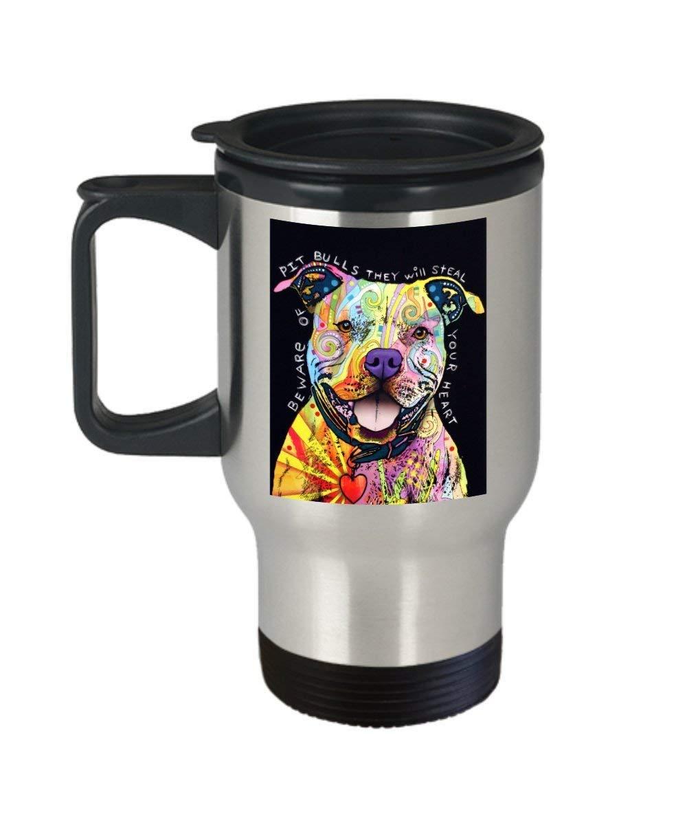 Dean Russo Pitbull Modern Animal Art (Travel Mug) 14oz - Pitbull Coffee Mug - Pitbull Mug - Is The Perfect Pitbull Gift - Pitbull Merchandise - Dog - Coffee Mug,Beer mug,Travel Mug