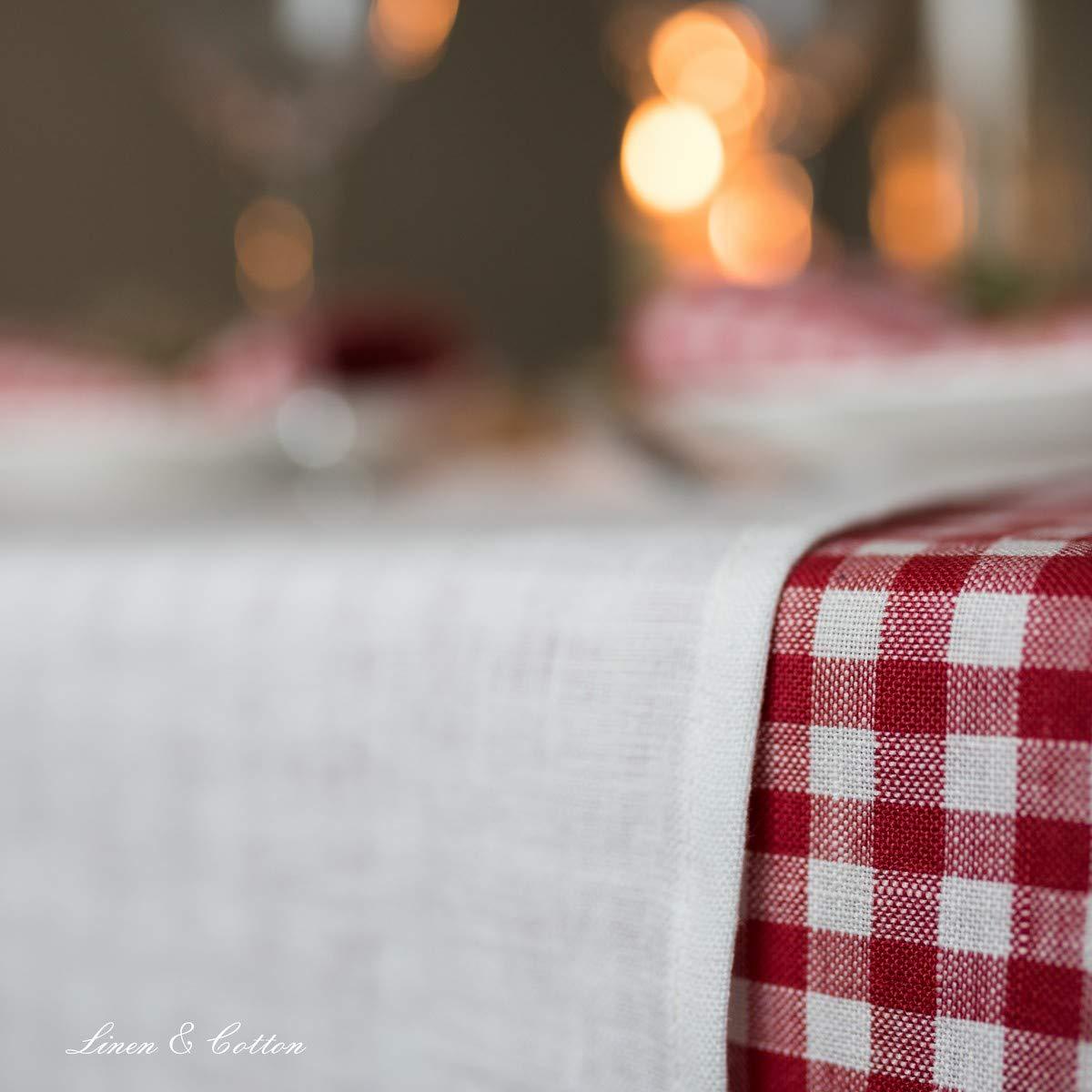 100/% Lino Guida da Tavolo Lungo Largo Natalizio in Tessuto per la Casa Cucina Sala da Pranzo Cene di Famiglia Feste Beige Marrone 40 x 300 cm Linen /& Cotton Runner Tavola Stoffa Colorati Hygge