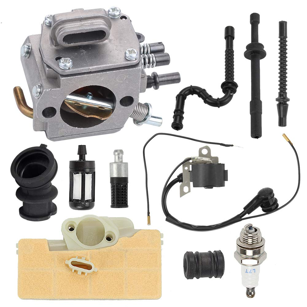 Hayskill MS290 Carburetor with 0000 400 1300 Ignition Coil Oil Fuel Filter Line Spark Plug for Stihl 029 039 MS290 MS310 MS390 Chainsaw Carb Replace 1128 120 0625 by Hayskill