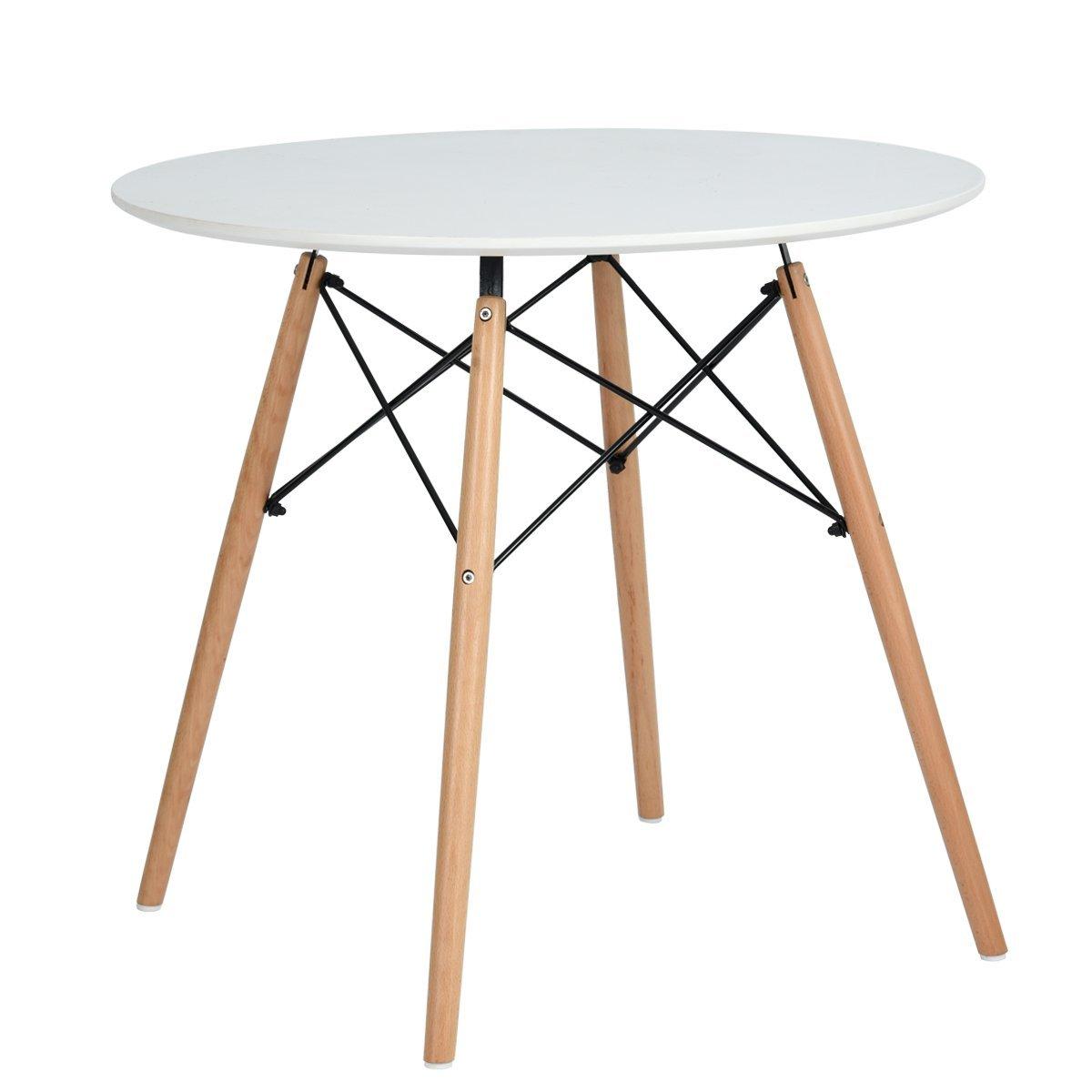 N.B.F DSW - Tavolo rotondo da pranzo, stile scandinavo, da cucina, vintage, in legno, 80 cm, colore: bianco opaco Navy Blue Furniture