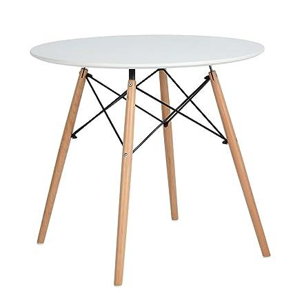 N.B.F DSW - Tavolo rotondo da pranzo, stile scandinavo, da cucina ...