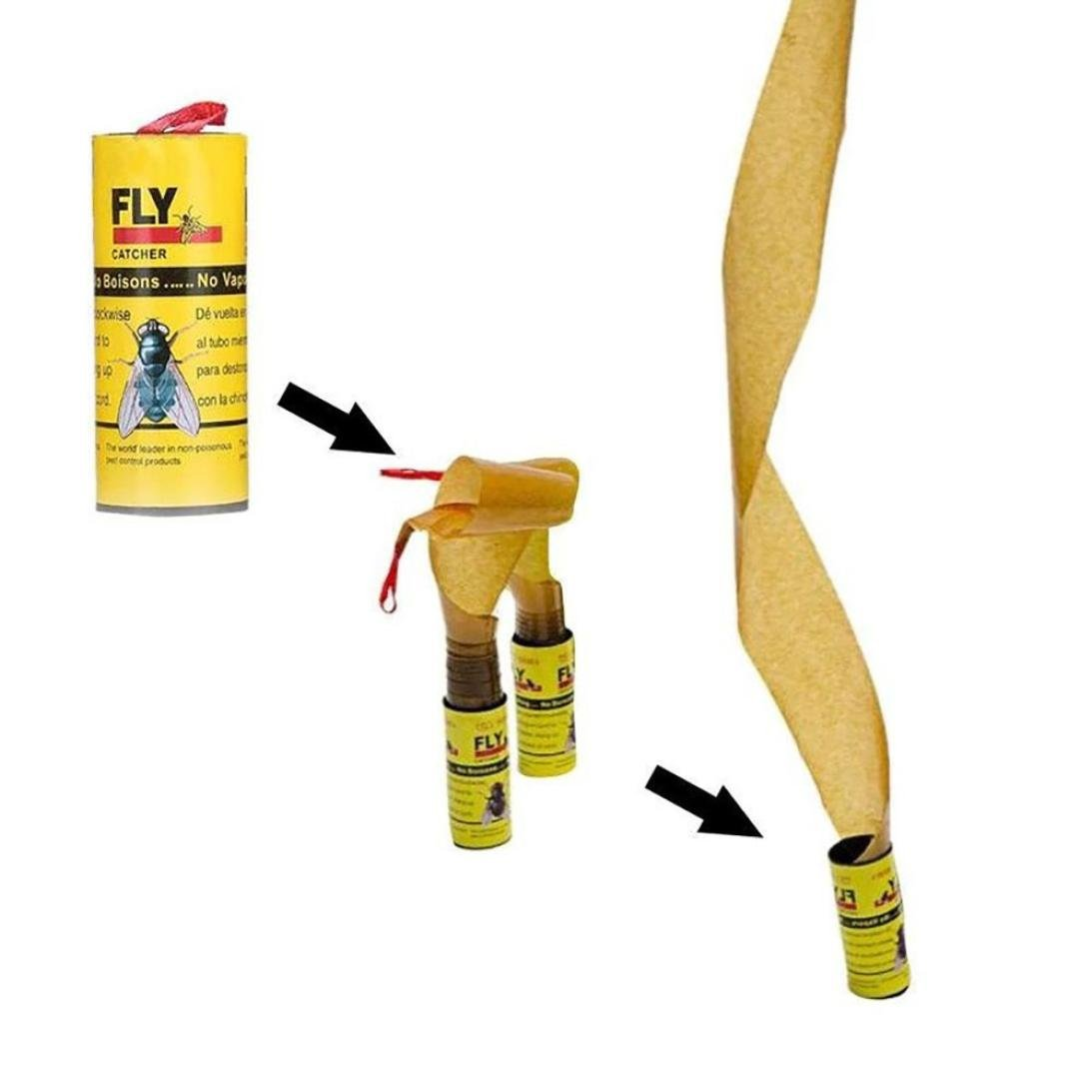 Fly Sticky Paper(Pack of 4), Eliminate Flies Insect Bug Glue Paper Trap