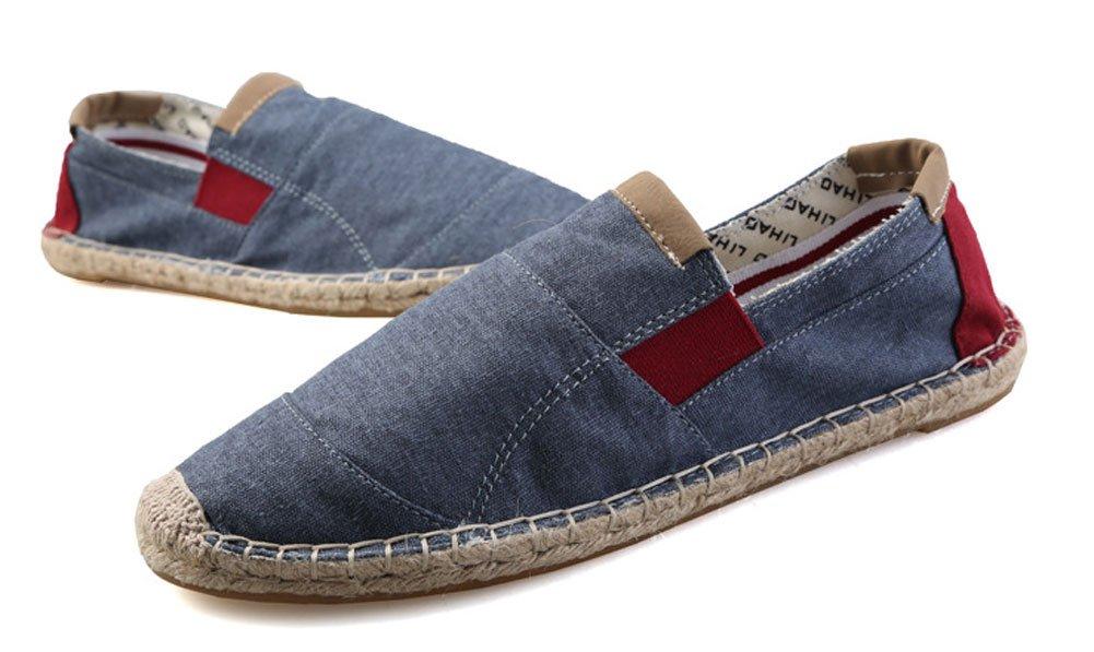 Plaid&Plain Men's Sneaker Casual Loafer Espadrilles Low Top Canvas Slip-on Flats Blue 44