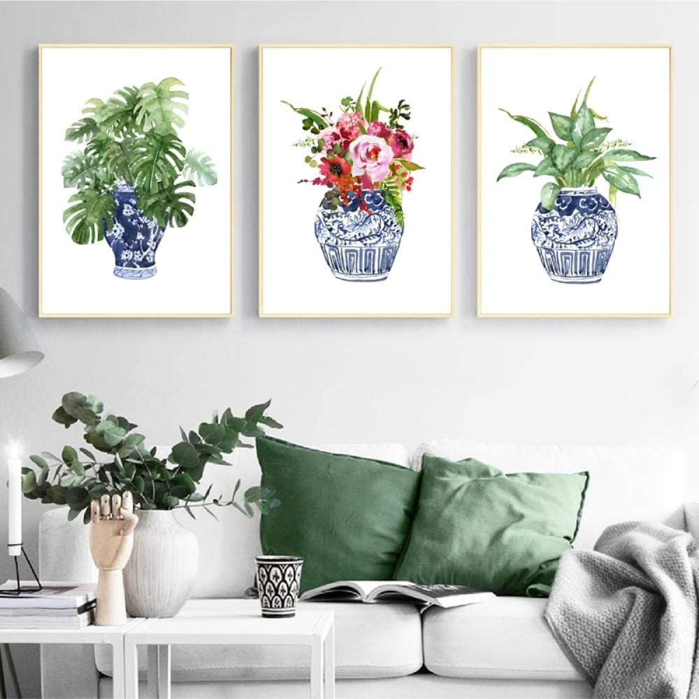 XKLDP Impresión de póster Jarrón de Porcelana Arte de la Pared Pintura de la Lona Cuadro Flor para decoración de la habitación Linving-40x60cmx3 Piezas sin Marco