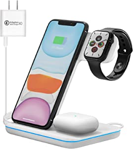 Wireless Charging Station 3-in-1 Qi-Certified 15W Wireless Charger Stand Compatible for Apple Watch SE/6/5/4/3/2/1 Airpods Pro/2 iPhone 12/12 Pro/SE II/11/11 Pro/Pro Max/XS Max/XS/XR/X/8/Plus/8