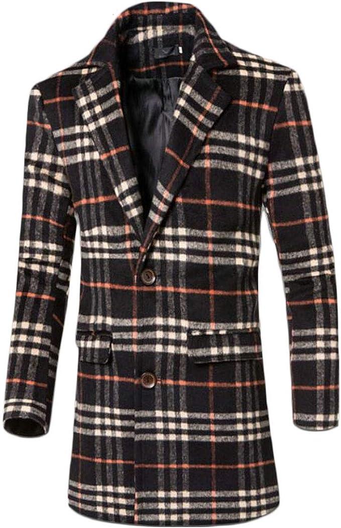 ssjjsacv Mens Slim Checkered Mid Length Single Breasted Trench Pea Coat Jacket Overcoat