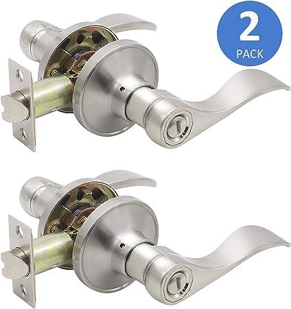 8 X Stainless Wave Door Handle Pack Latch Set 2 x Bathroom Set