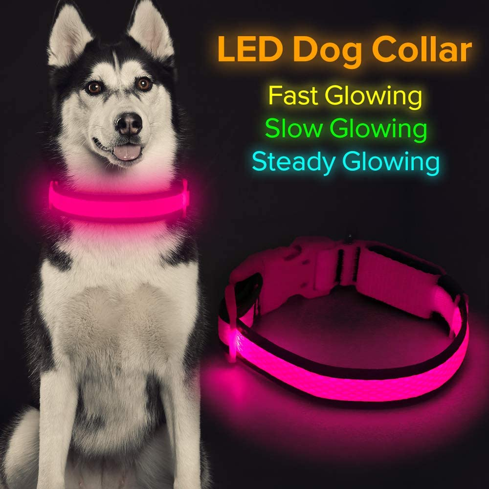 """HiGuard LED Dog Collar, USB Rechargeable Light Up Glowing Pet Collar, Comfortable Soft Mesh Safety Dog Collar for Small, Medium, Large Dogs (Large Collar[17""""-25.9"""" inch / 43-66cm], Candy Pink)"""