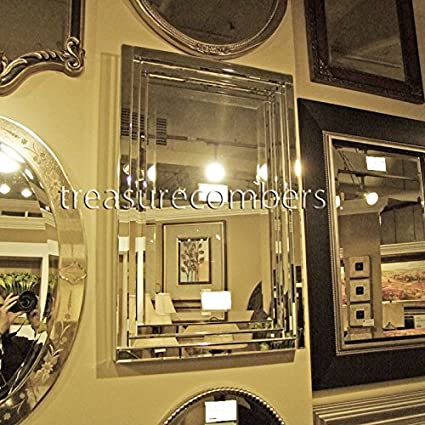 Amazon.com: Dazzling Layered Glass Frame FRAMELESS Wall Mirror: Home ...